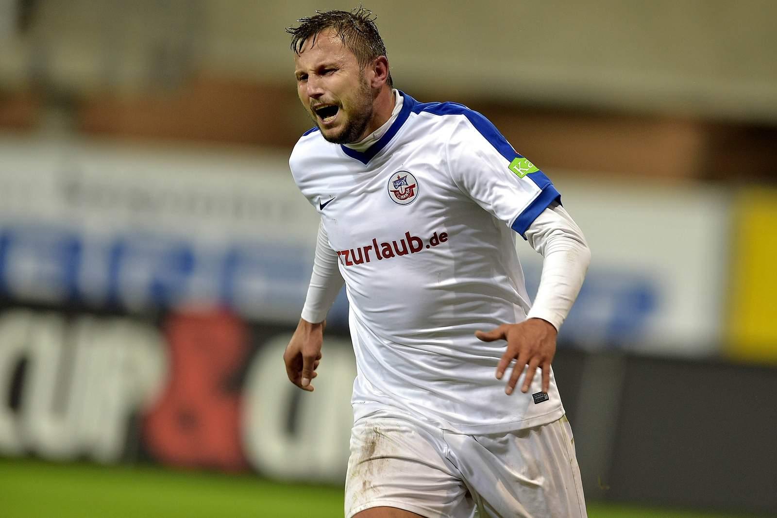 Marcel Ziemer vom FC Hansa Rostock beim Torjubel