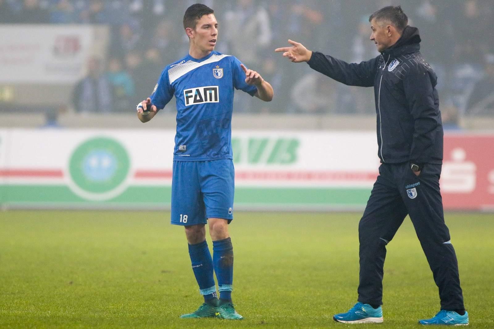 Florian Kath und Jens Härtel vom 1.FC Magdeburg