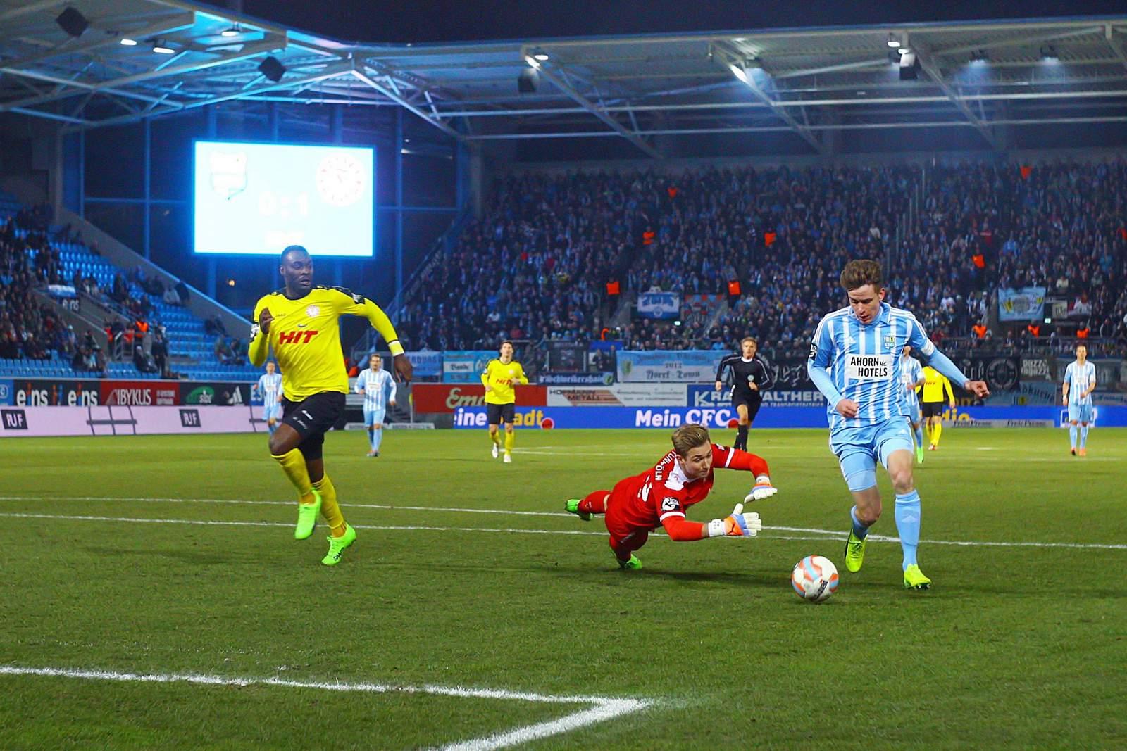 Florian Hansch erzielt Tor gegen Fortuna Köln