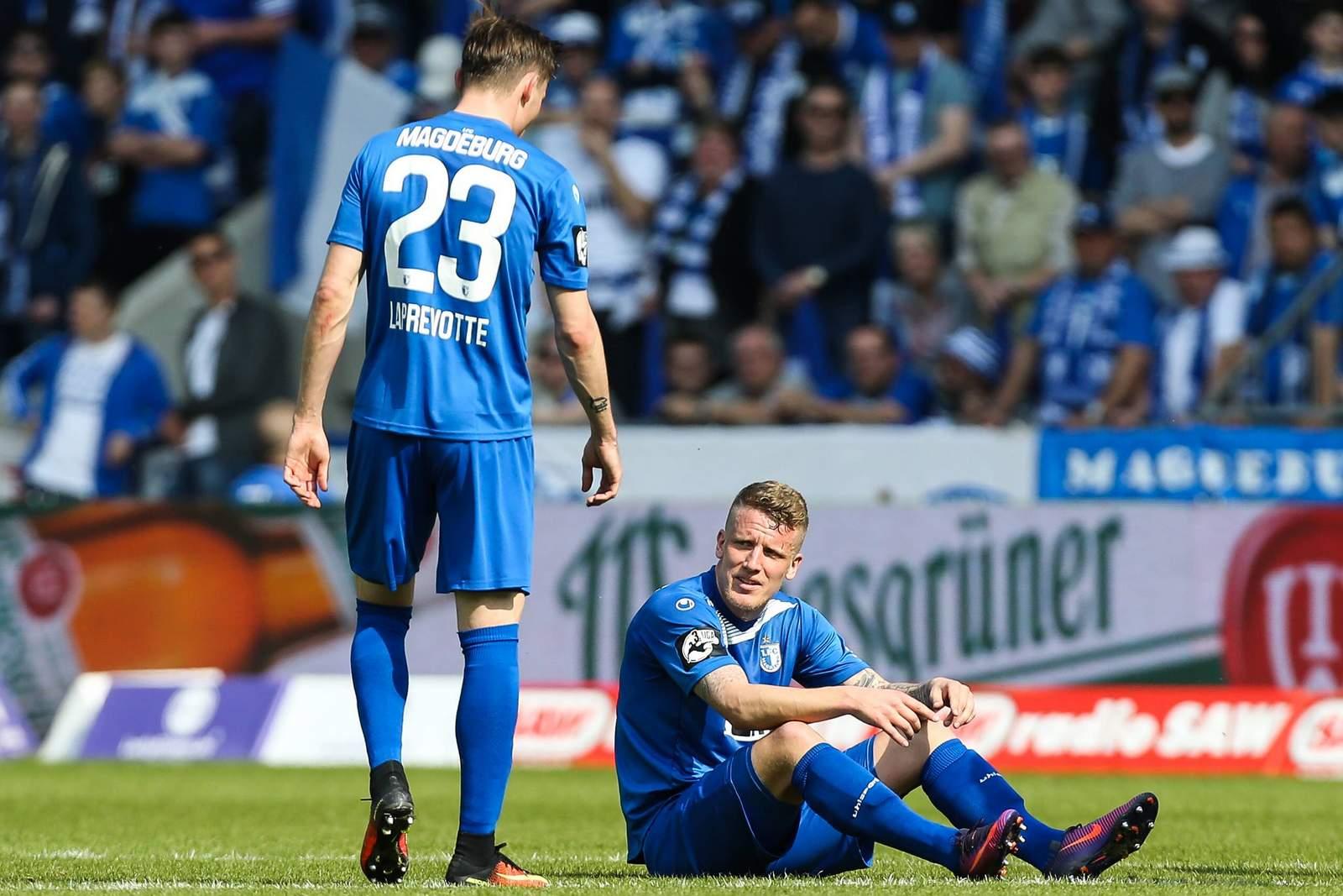 Charles-Elie Laprevotte und Richard Weil vom 1. FC Magdeburg.
