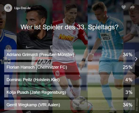 Ergebnis Voting Spieler des 33. Spieltags