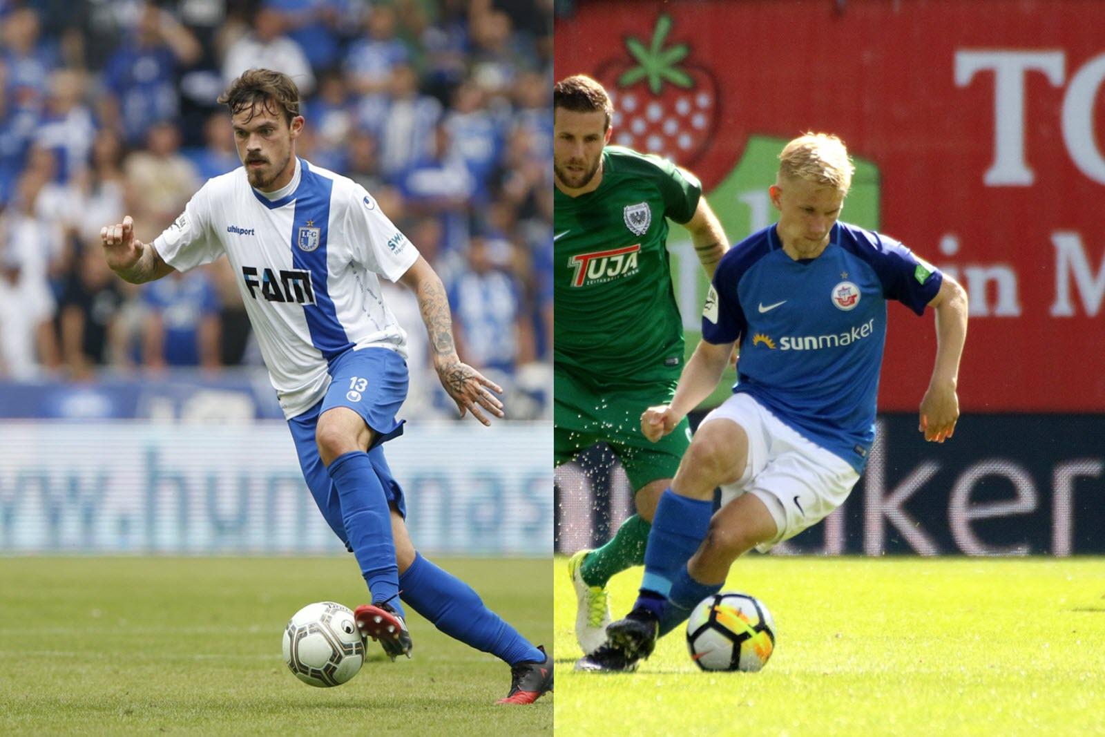 Dennis Erdmann (Magdeburg) und Bryan Henning (Hansa Rostock)