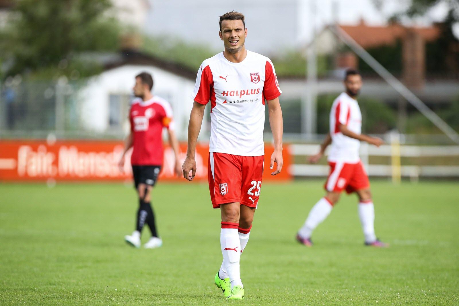 Petar Sliskovic vom Halleschen FC fällt verletzt aus