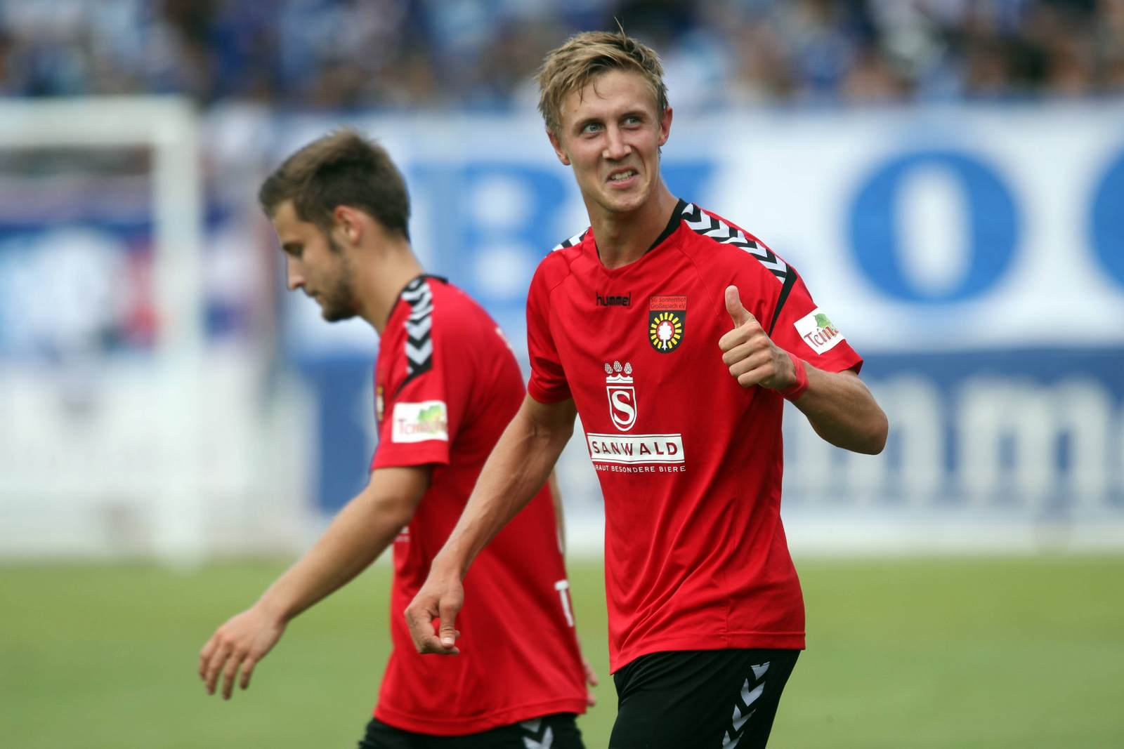 Sebastian Schiek nach seinem Treffer zum 1:0 gegen den 1. FC Magdeburg