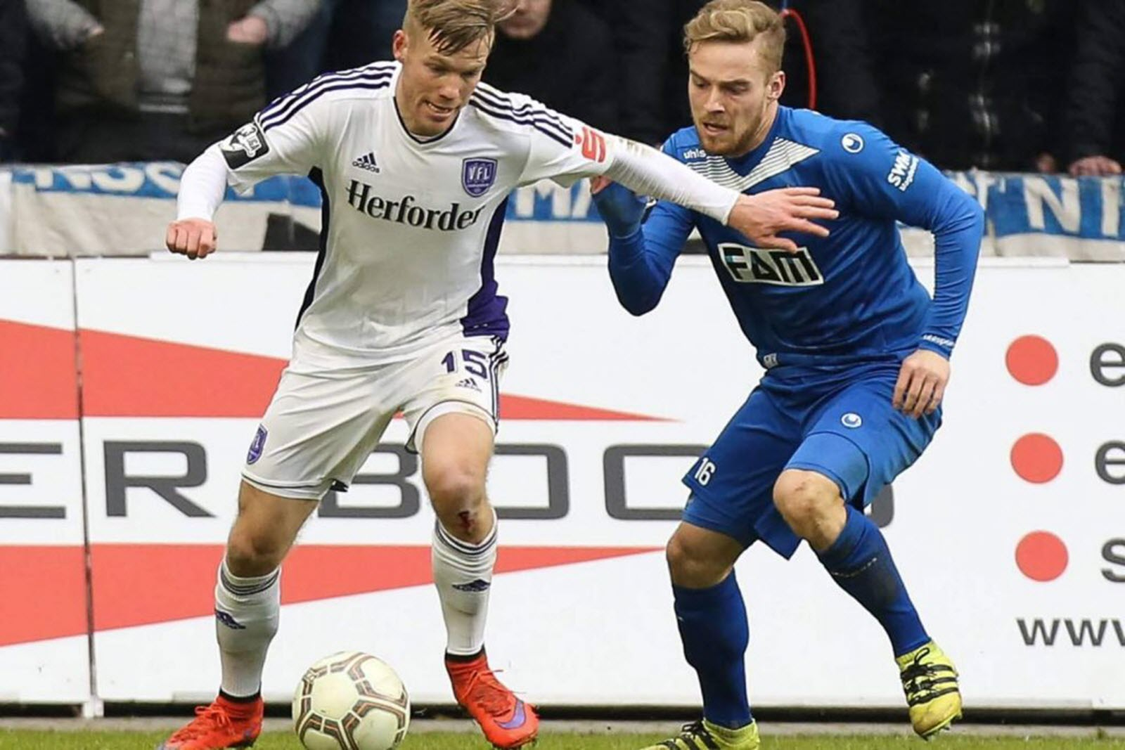 Jules Reimerink und Nils Butzen im Duell. Jetzt auf Osnabrück gegen Magdeburg wetten