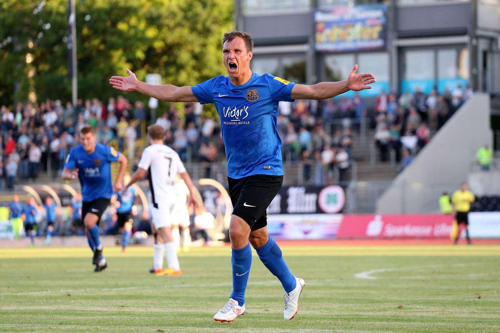 Tobias Jänicke jubelt für den 1. FC Saarbrücken. Bei Liga-Drei.de dankt er rückblickend den Fans des FC Hansa Rostock