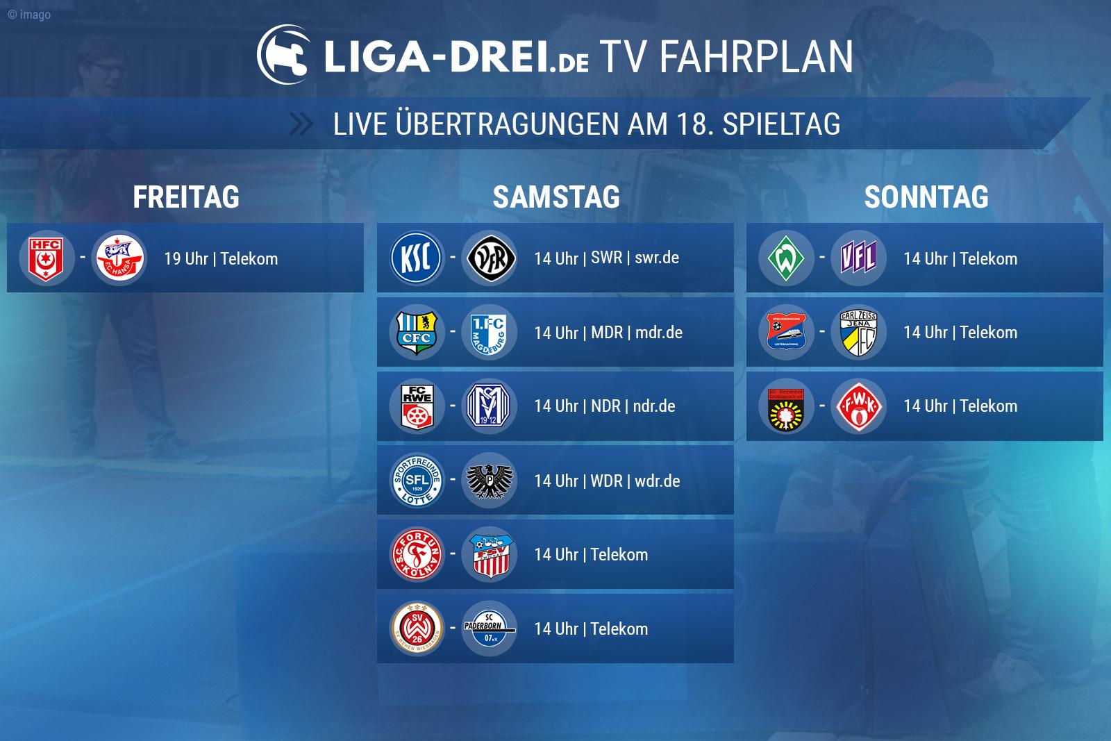TV Fahrplan für den 18. Spieltag