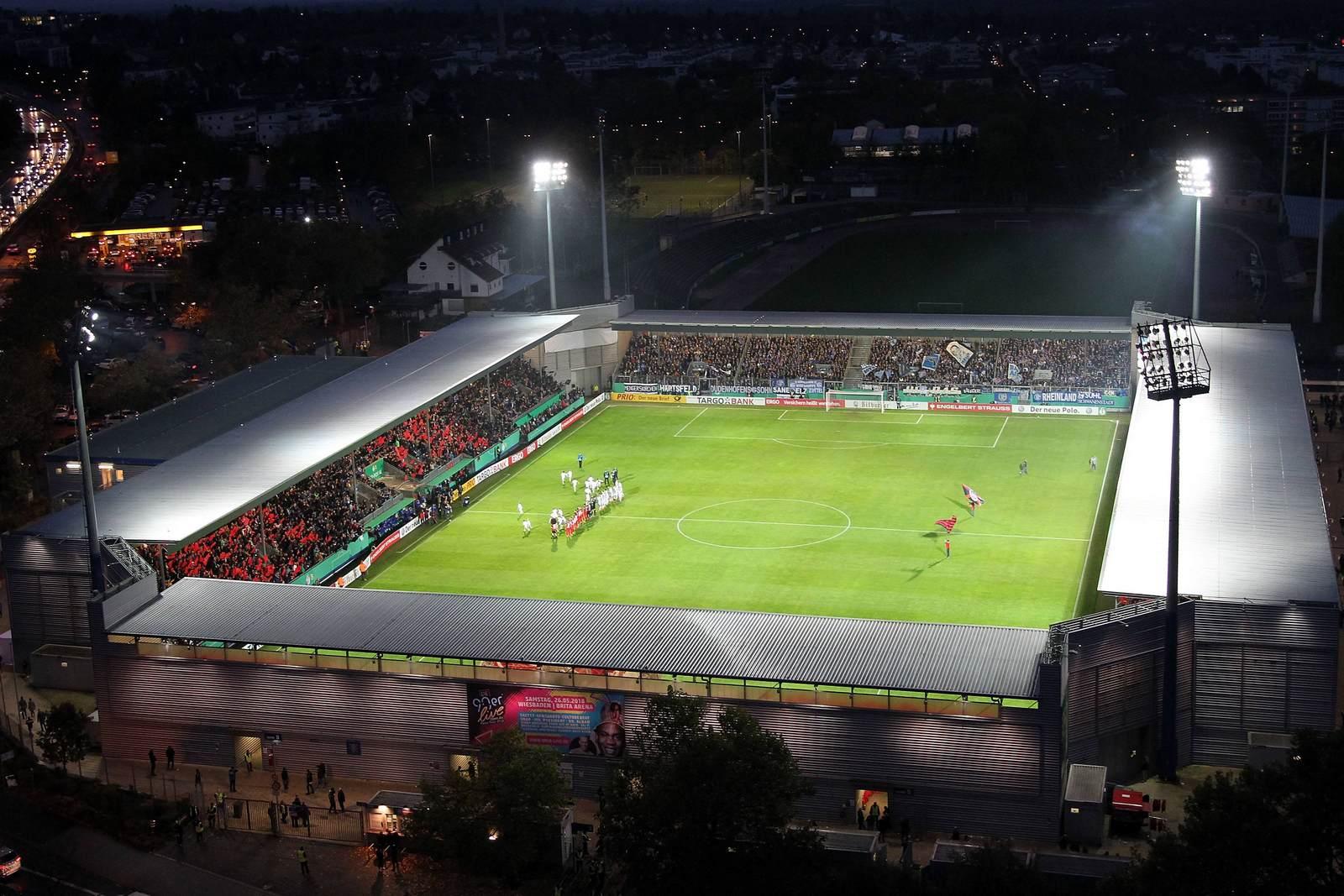 Die BRITA-Arena, Heimspielstätte des SV Wehen Wiesbaden