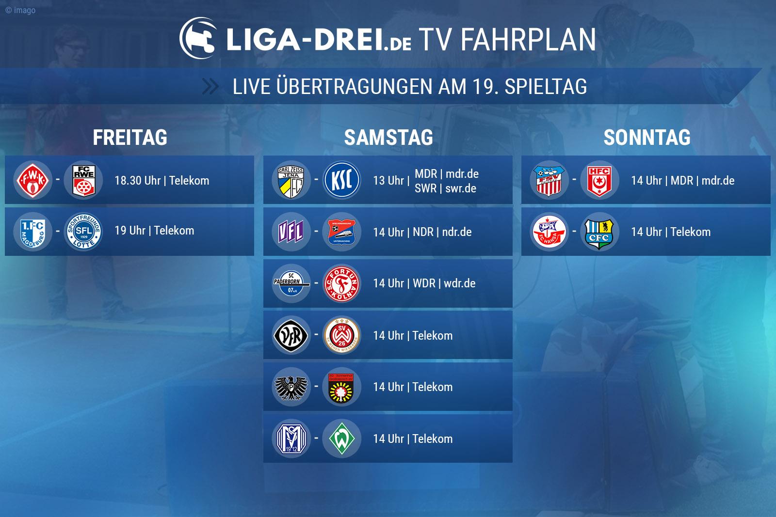 TV Fahrplan für den 19. Spieltag