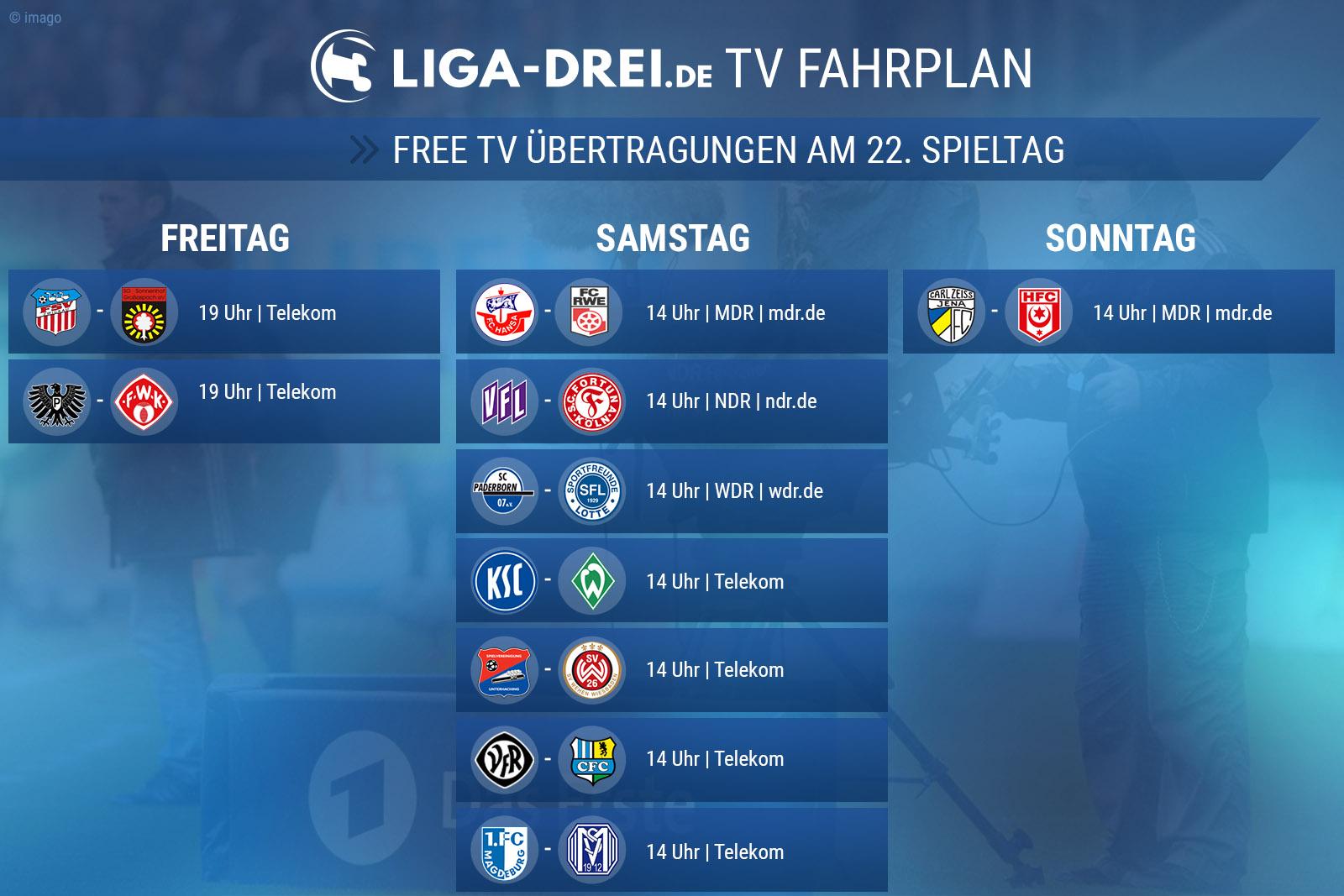 TV-Plan der 3. Liga für den 22. Spieltag