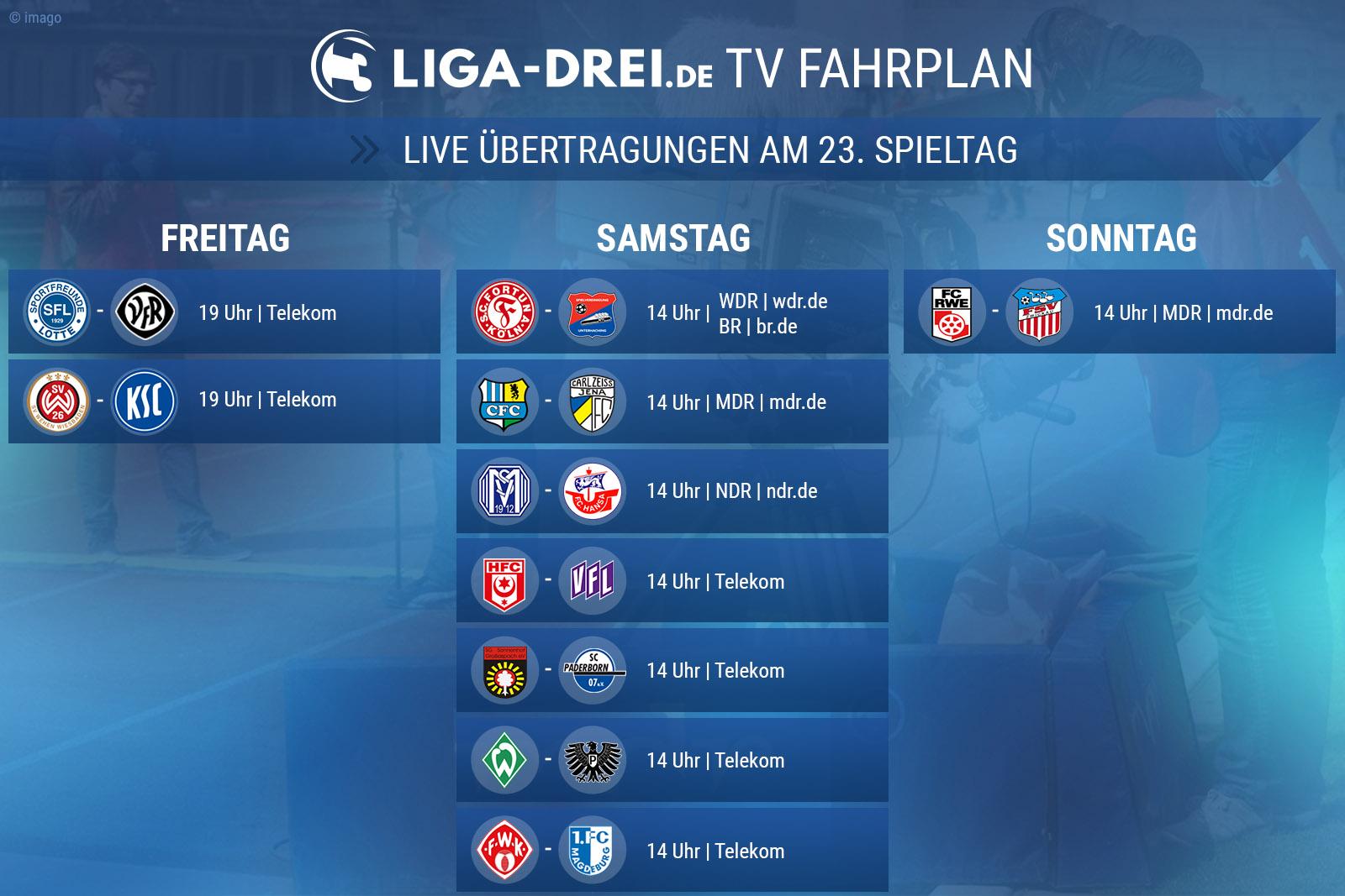 TV-Plan der 3. Liga für den 23. Spieltag