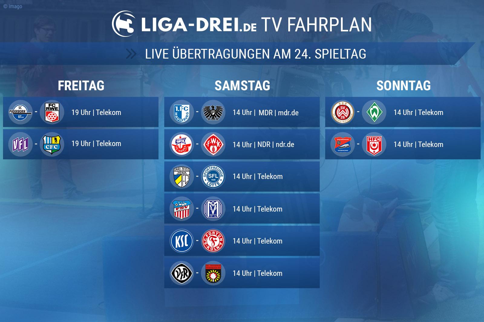 TV-Plan der 3. Liga für den 24. Spieltag