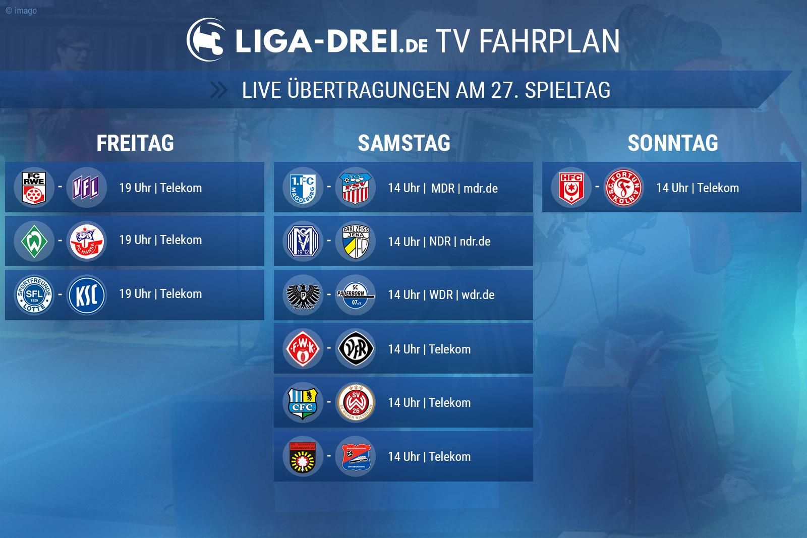 TV-Plan der 3. Liga für den 27. Spieltag