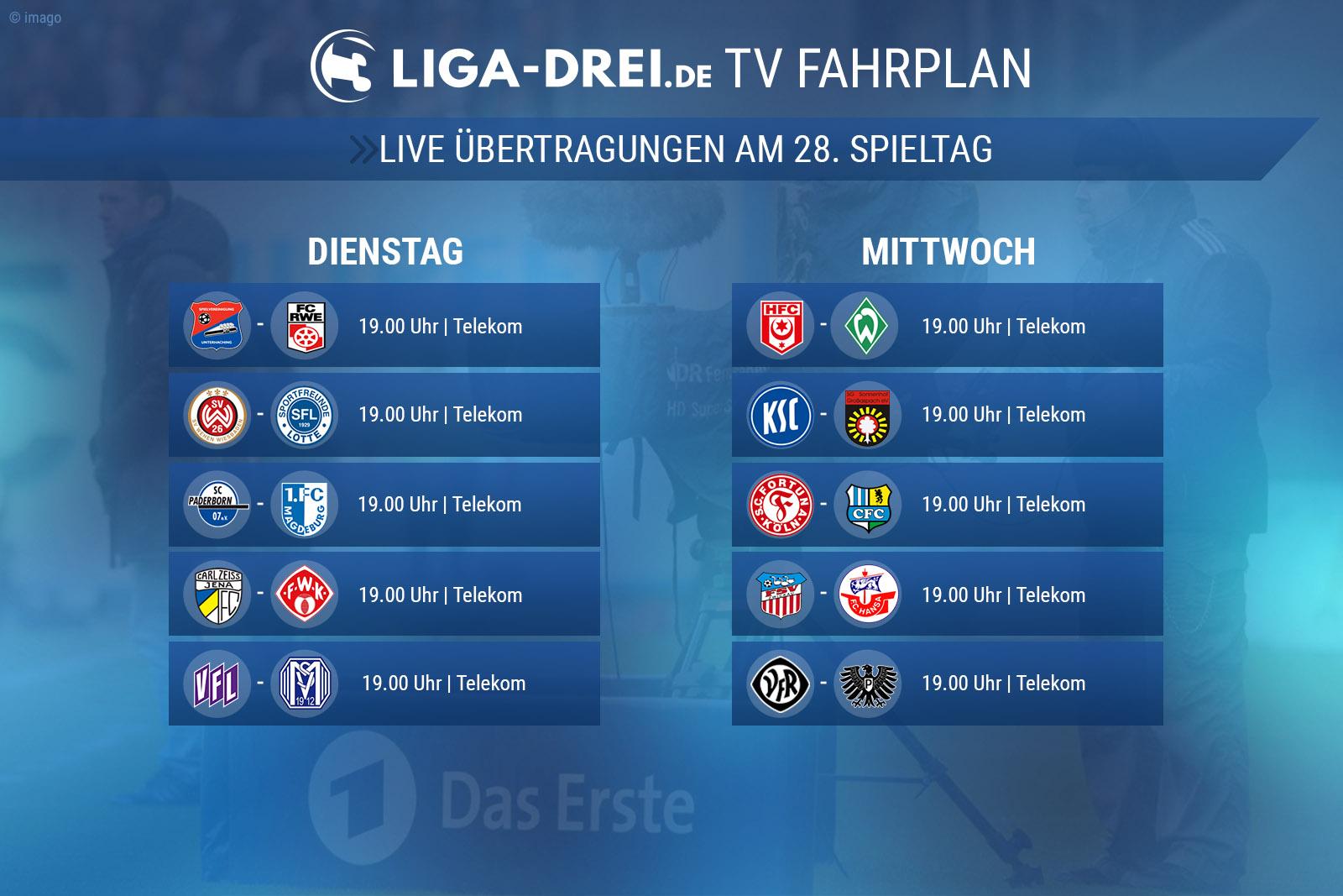 Der TV-Plan der 3. Liga am 28. Spieltag