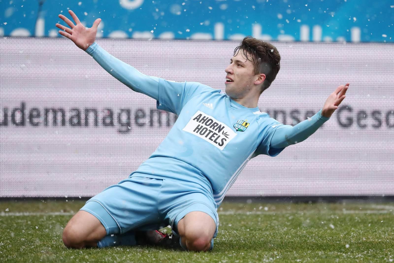 Tom Baumgart jubelt für den Chemnitzer FC
