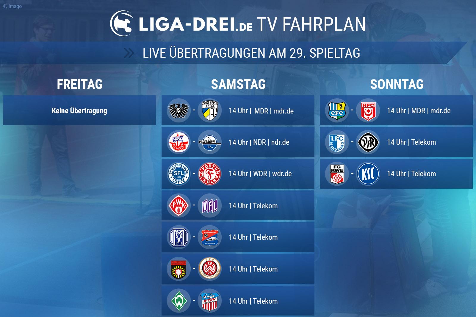 Der TV-Plan der 3. Liga am 29. Spieltag