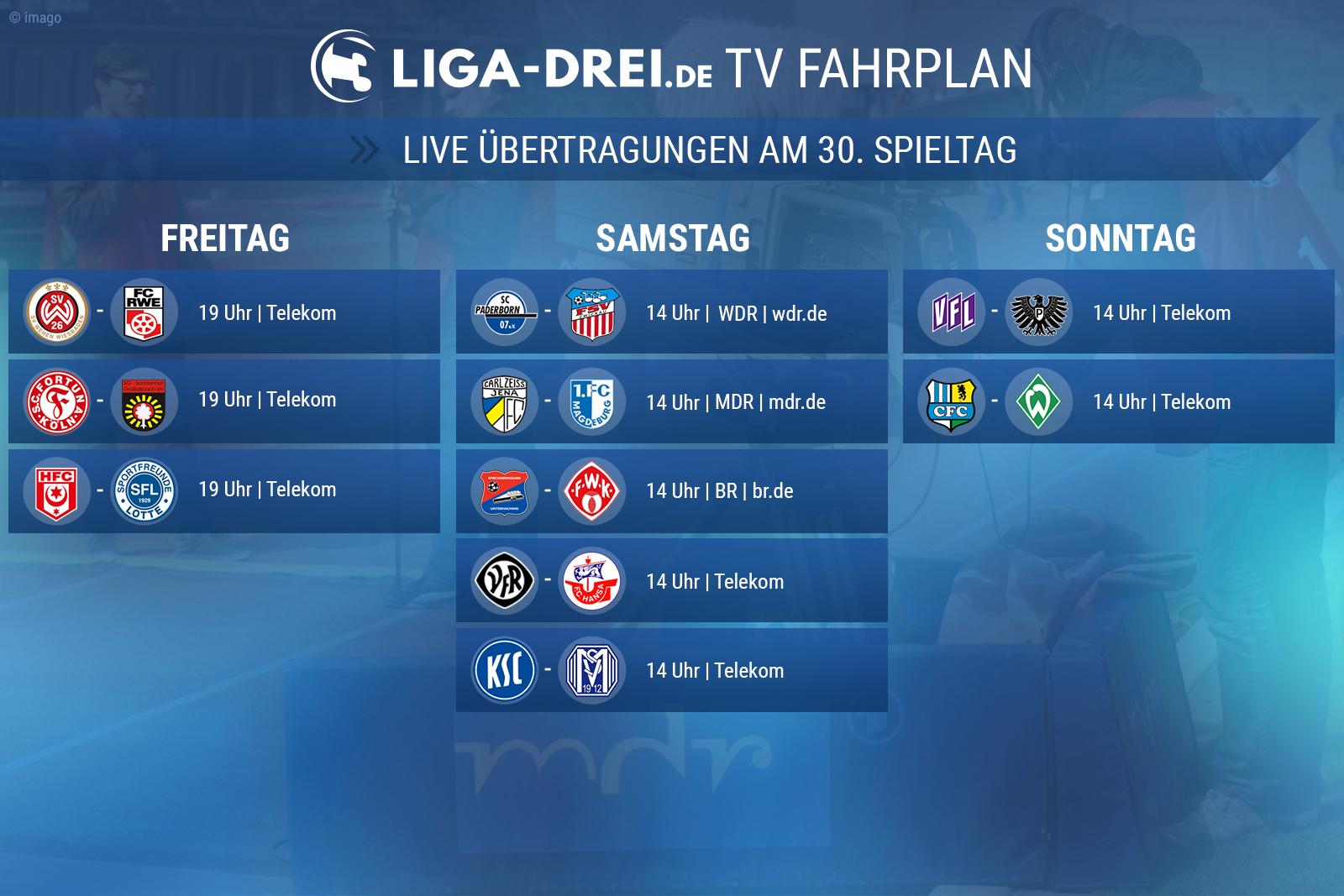 Der TV-Plan der 3. Liga am 30. Spieltag