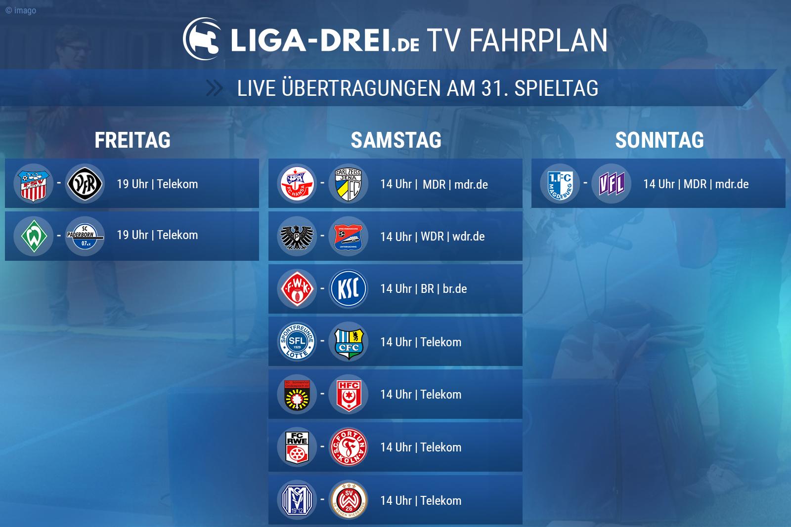 Der TV-Plan der 3. Liga am 31. Spieltag