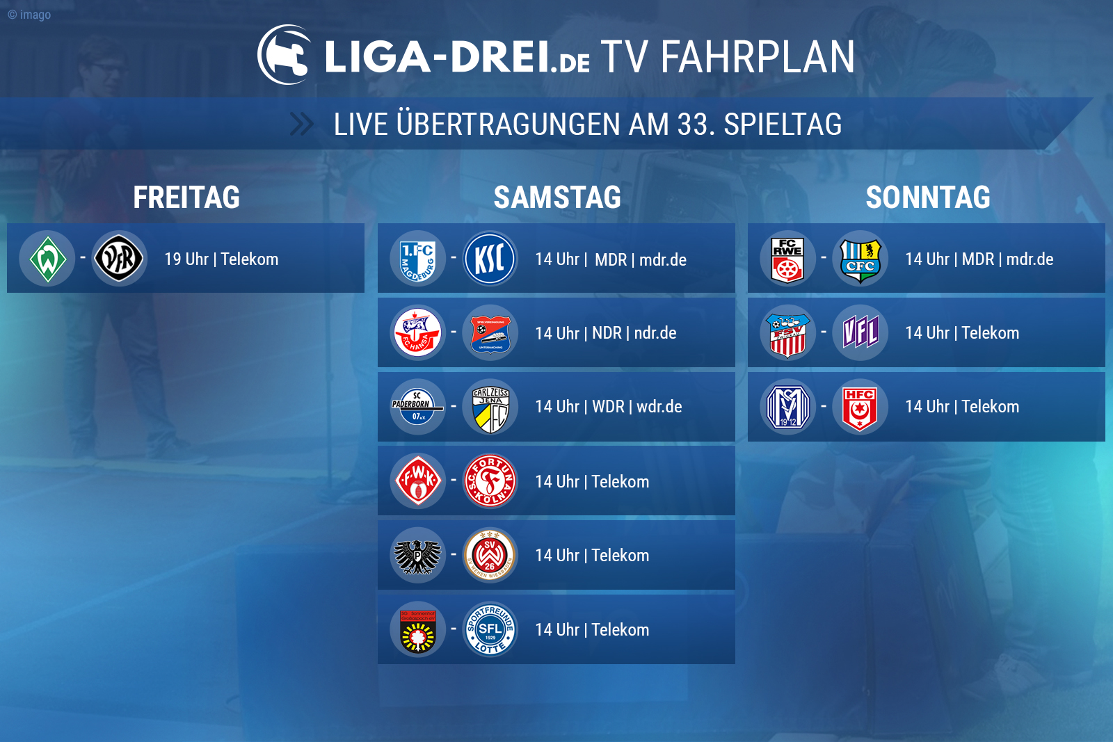 TV-Fahrplan am 33. Spieltag