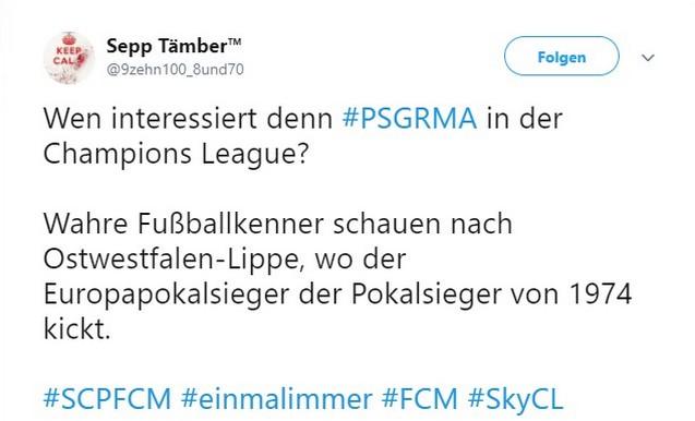 Tweet zum Spitzenspiel SC Paderborn gegen den 1. FC Magdeburg