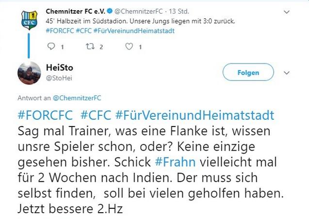 Tweet zu Fortuna Köln gegen den Chemnitzer FC