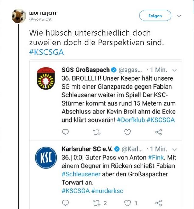 Tweet zu Karlsruher SC gegen SG Sonnenhof Großaspach