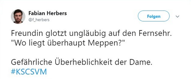 Tweet zu Karlsruher SC gegen SV Meppen
