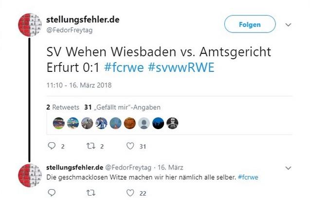 Tweet zu SV Wehen Wiesbaden gegen Rot-Weiß Erfurt