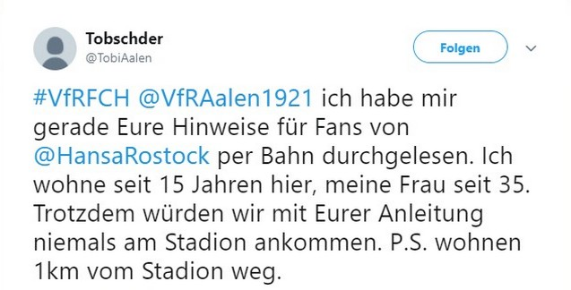 Tweet zu VfR Aalen gegen FC Hansa Rostock