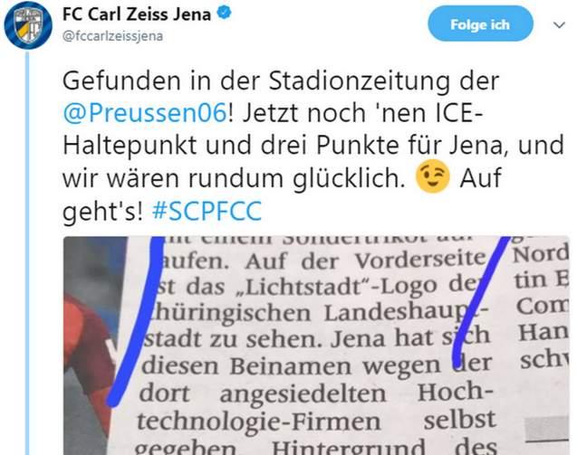 Tweet zu Münster vs Jena