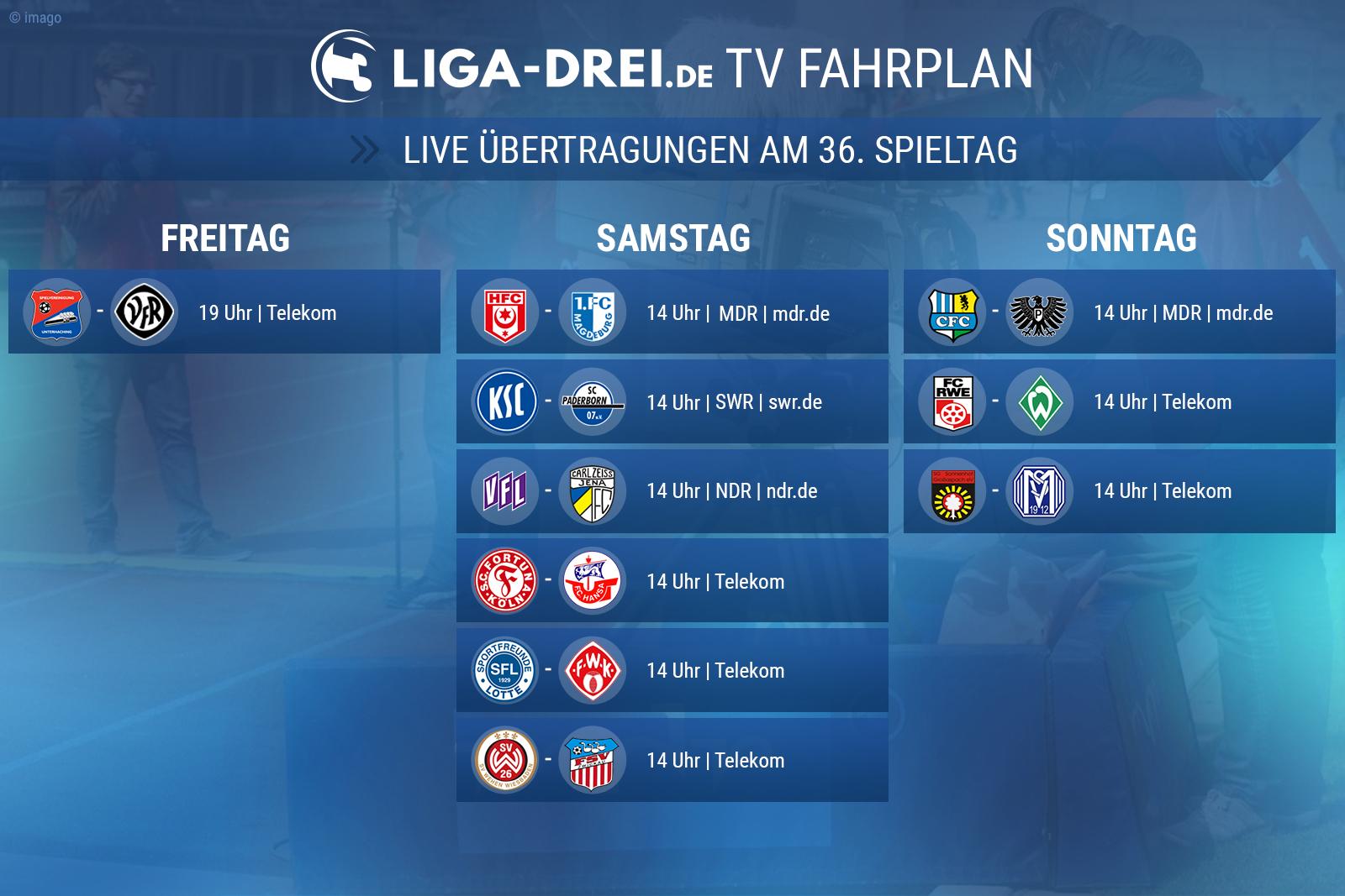 TV-Fahrplan zum 36. Spieltag