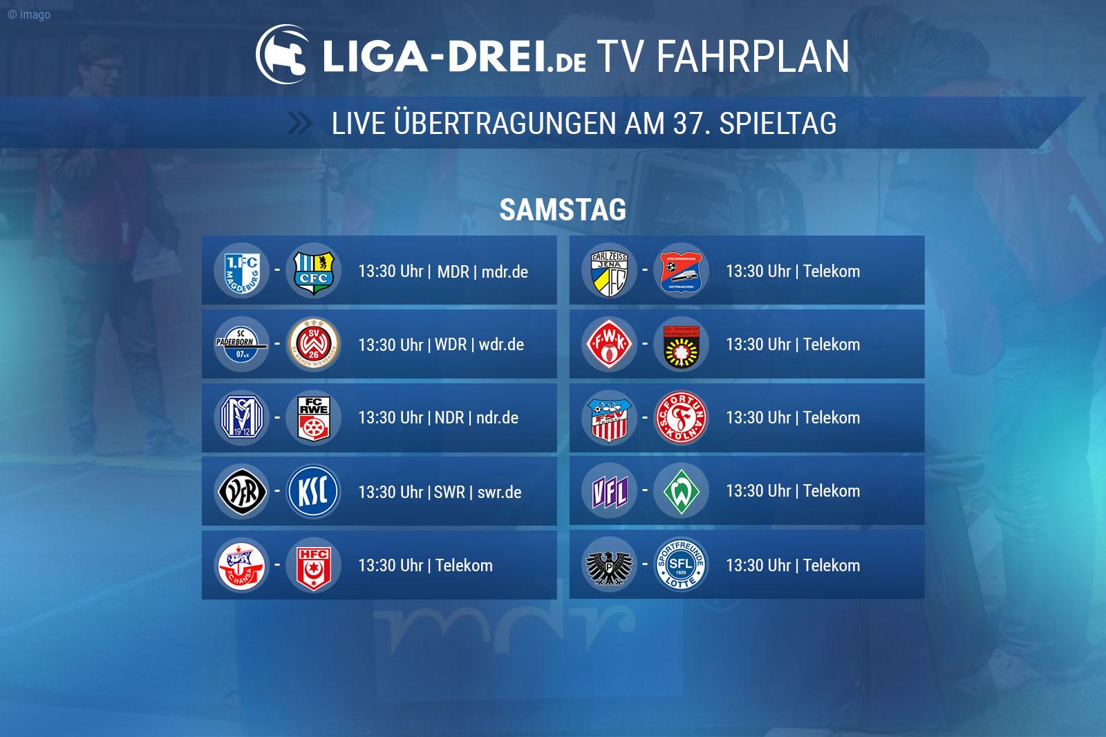 TV-Plan zum 37. Spieltag der 3. Liga