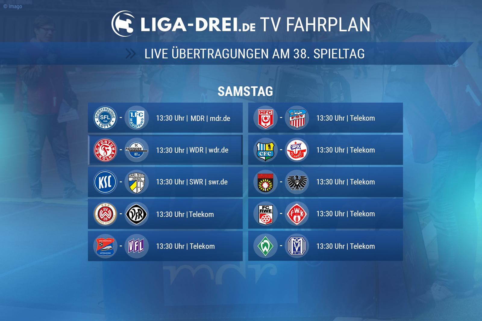 Der TV Fahrplan zum 38. Spieltag
