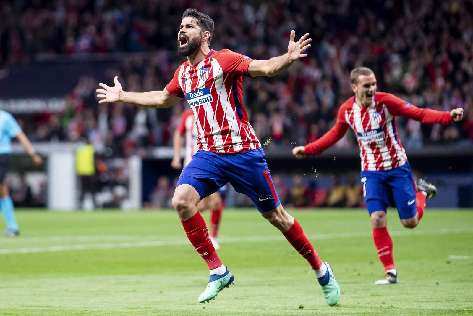Diego Costa jubelt. Jetzt auf die Partie Marseille vs Atletico wetten.