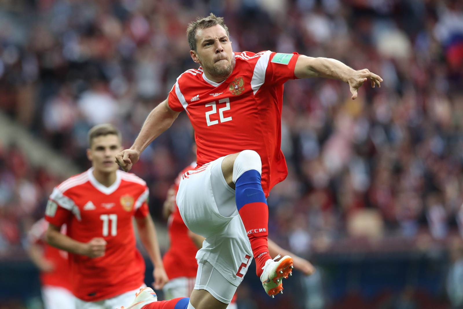 Artem Dzyuba jubelt. Jetzt auf die Partie Russland gegen Ägypten wetten.