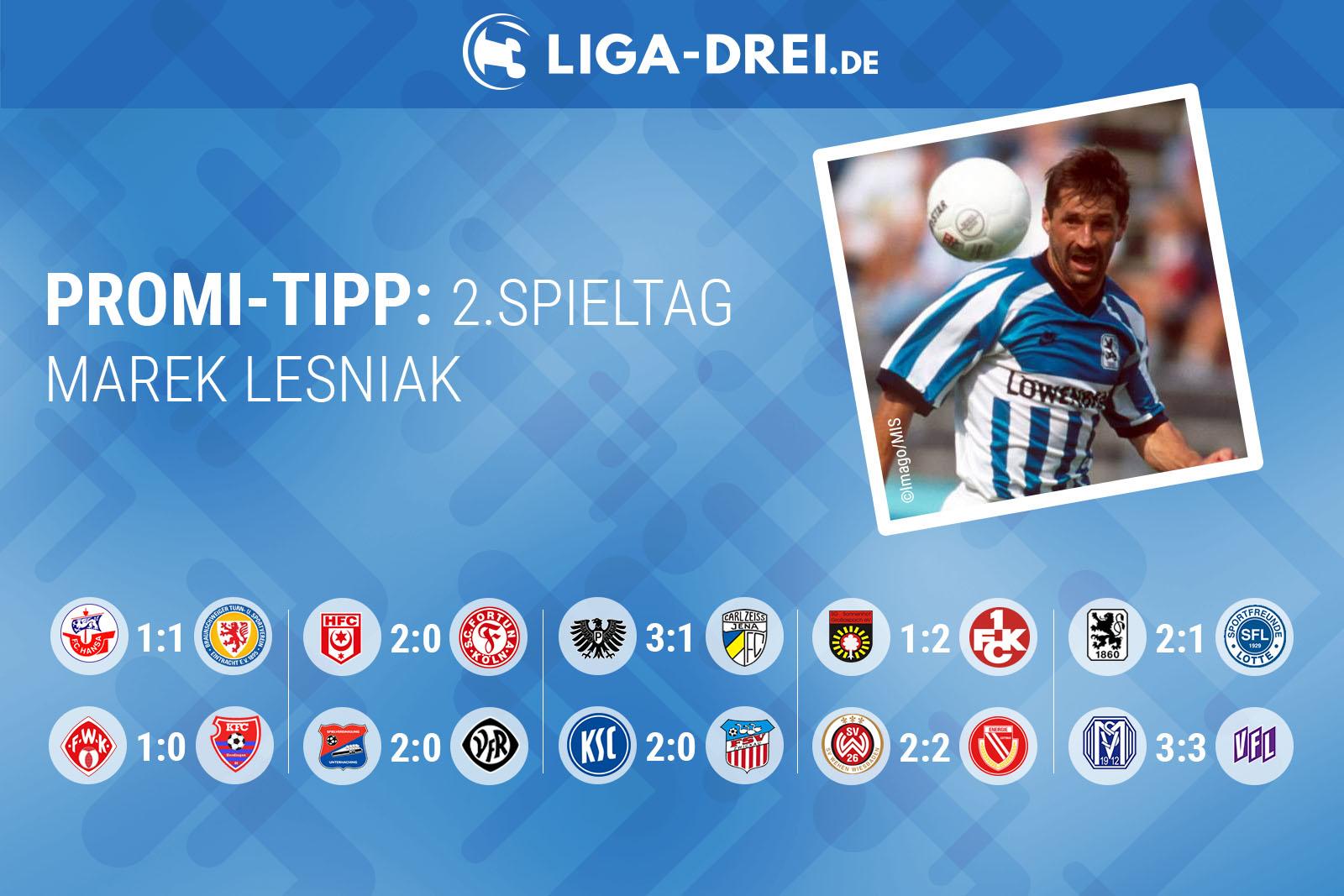 Marek Lesniak tippt 2. Spieltag der 3.Liga 2018/19.