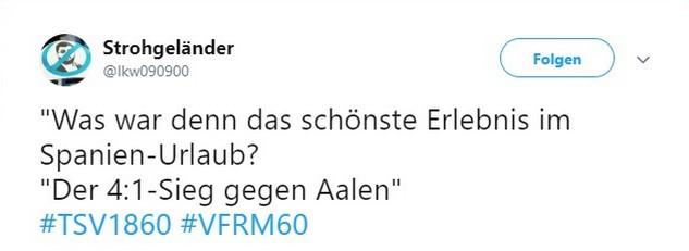 Tweet zu VfR Aalen vs 1860 München