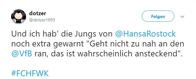 Tweet zu Hansa Rostock vs Würzburger Kickers