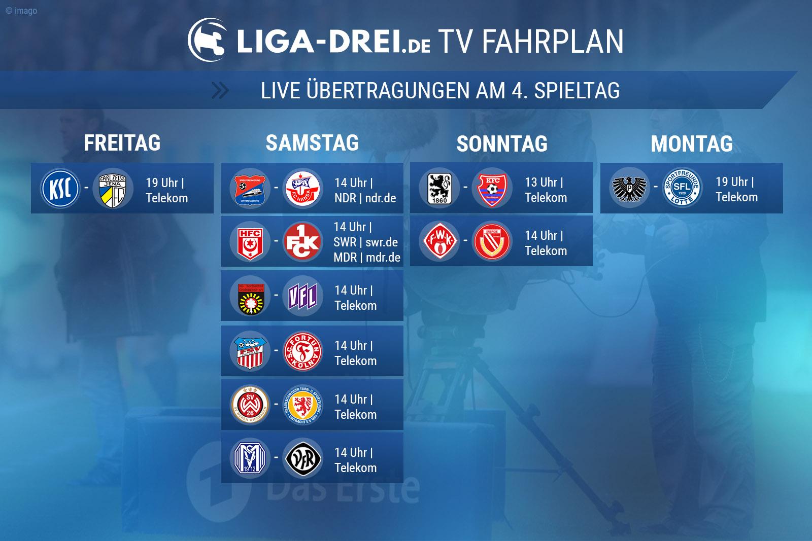 TV-Plan für die Dritte Liga am 4. Spieltag
