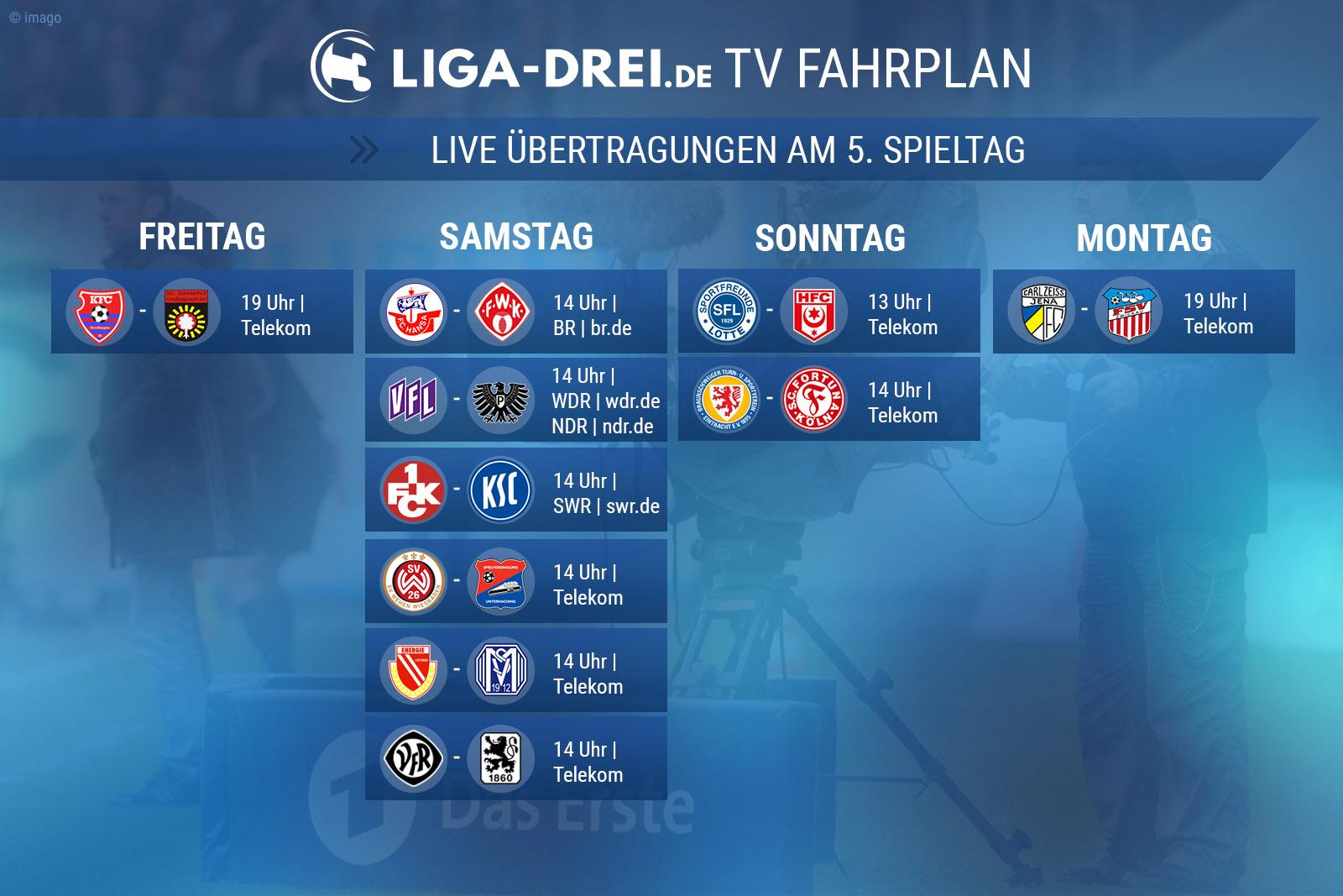 TV-Plan für die Dritte Liga am 5. Spieltag