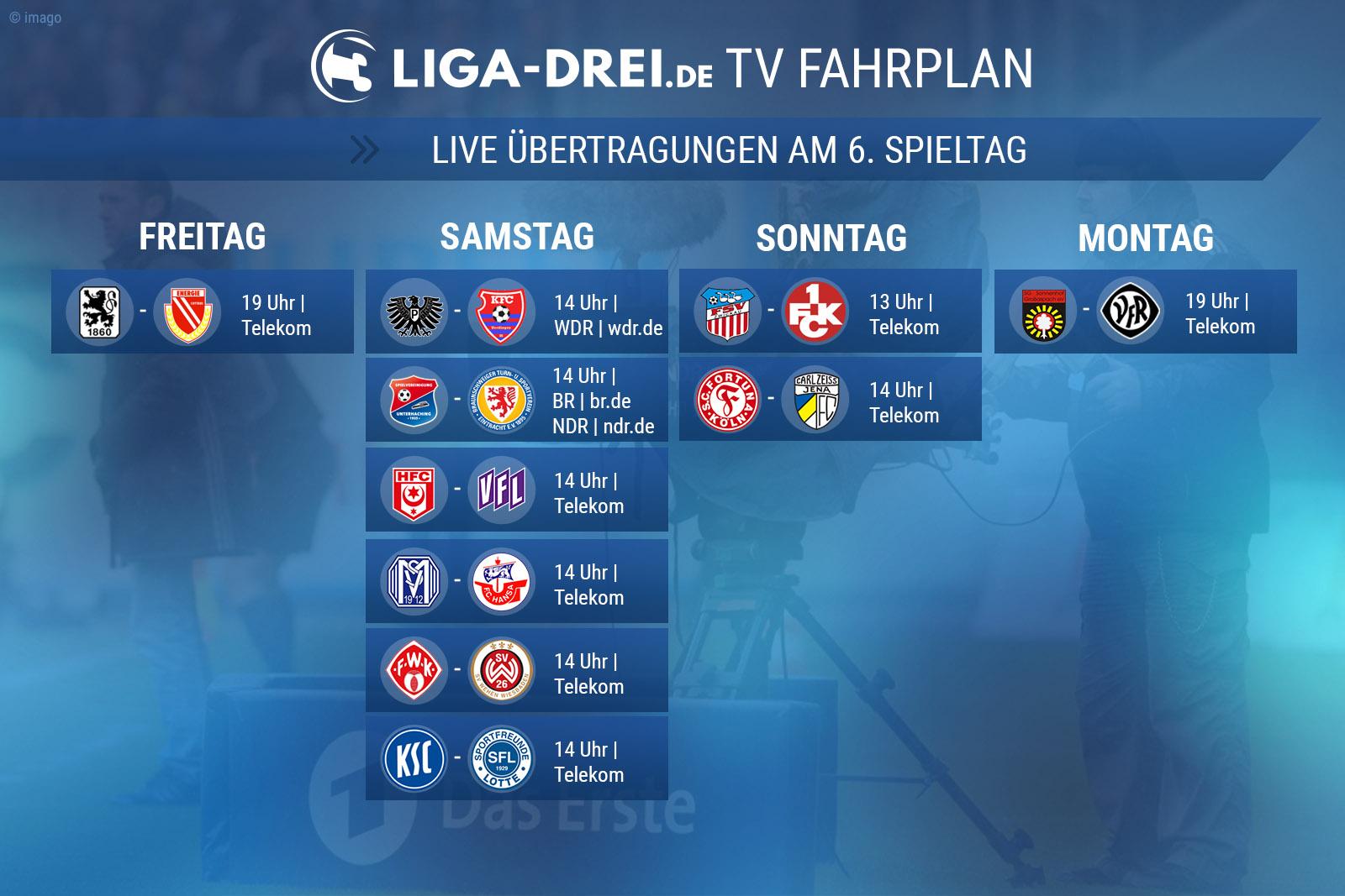 TV-Plan für die Dritte Liga am 6. Spieltag