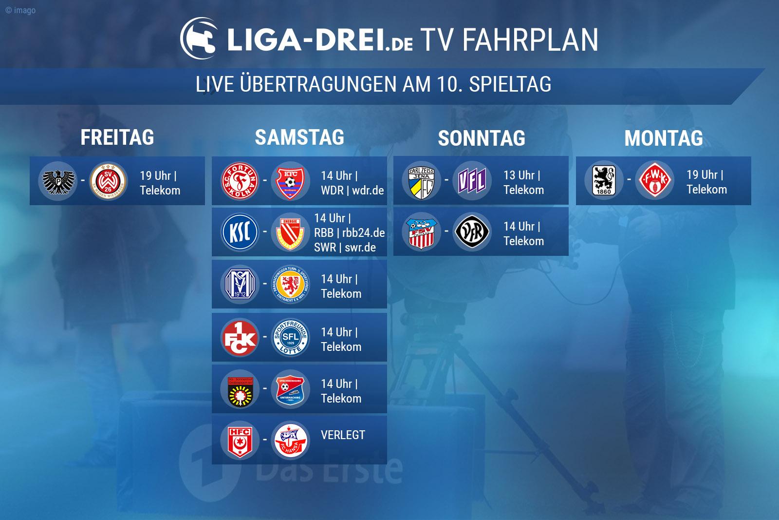 TV-Plan für die Dritte Liga am 10. Spieltag