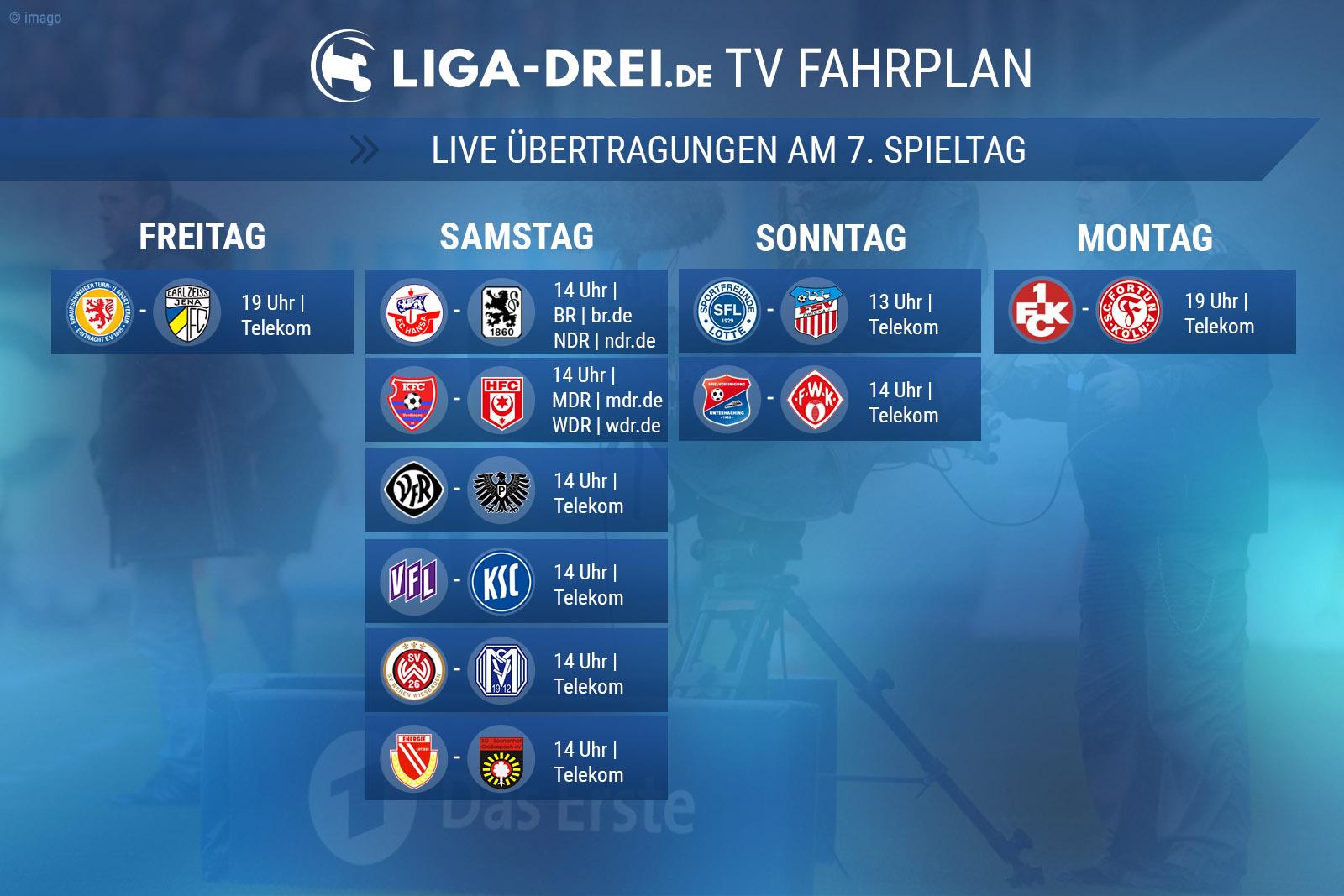 TV-Plan für die Dritte Liga am 7. Spieltag