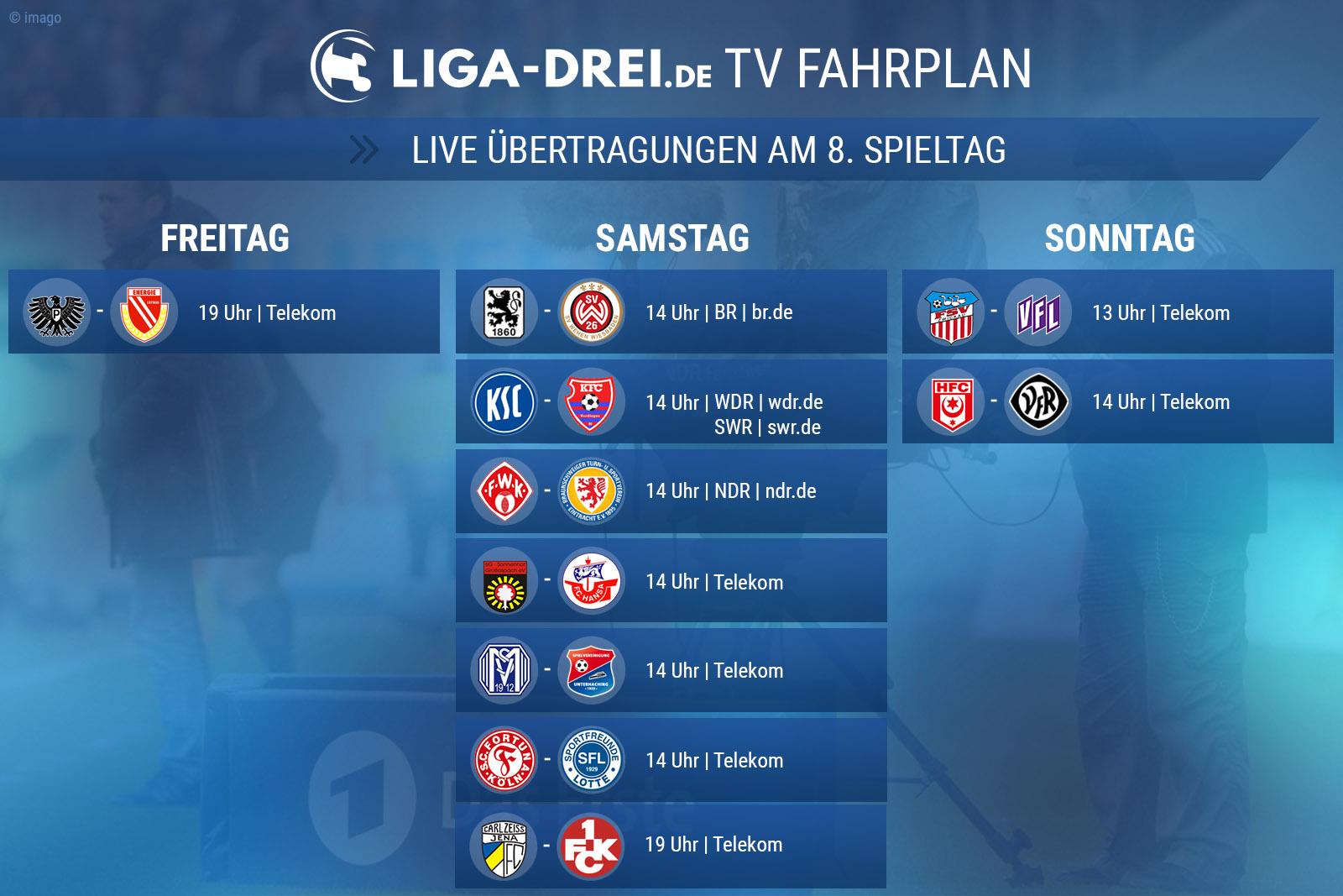 TV-Plan für die Dritte Liga am 8. Spieltag
