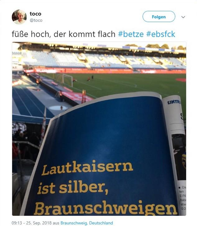 Tweet zu Braunschweig gegen Kaiserslautern
