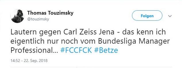 Tweet zu Jena gegen Kaiserslautern
