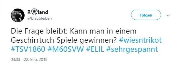 Tweet zu 1860 gegen Wehen Wiesbaden