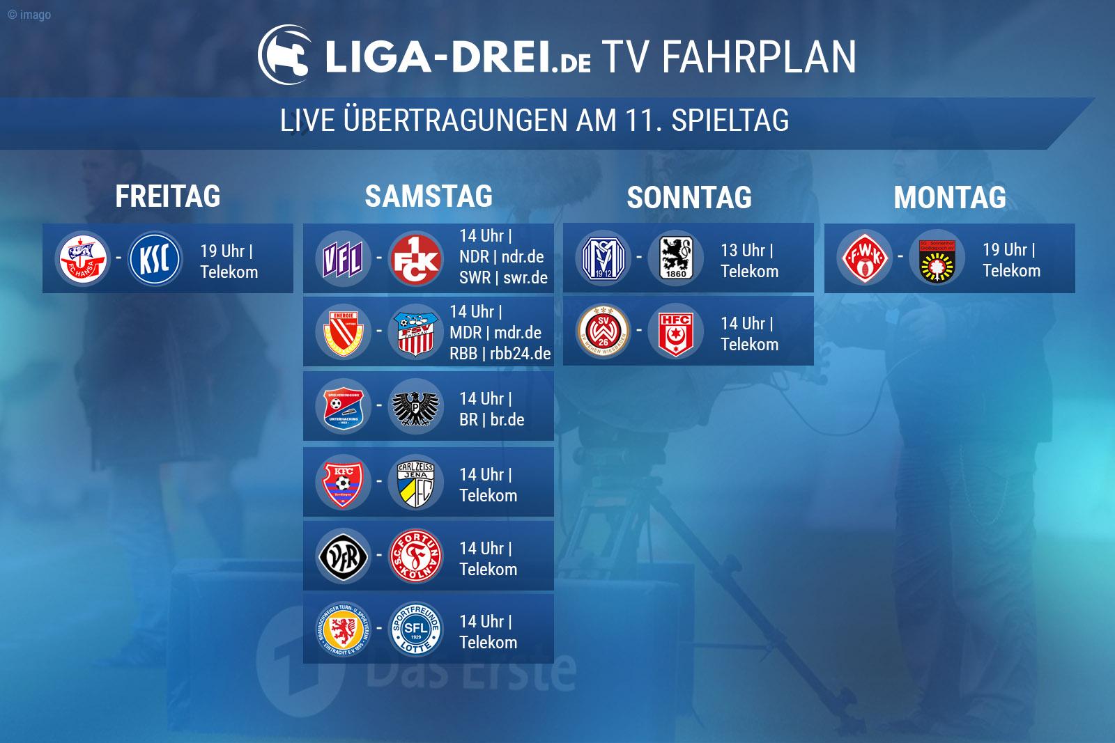 TV-Plan für die Dritte Liga am 11. Spieltag