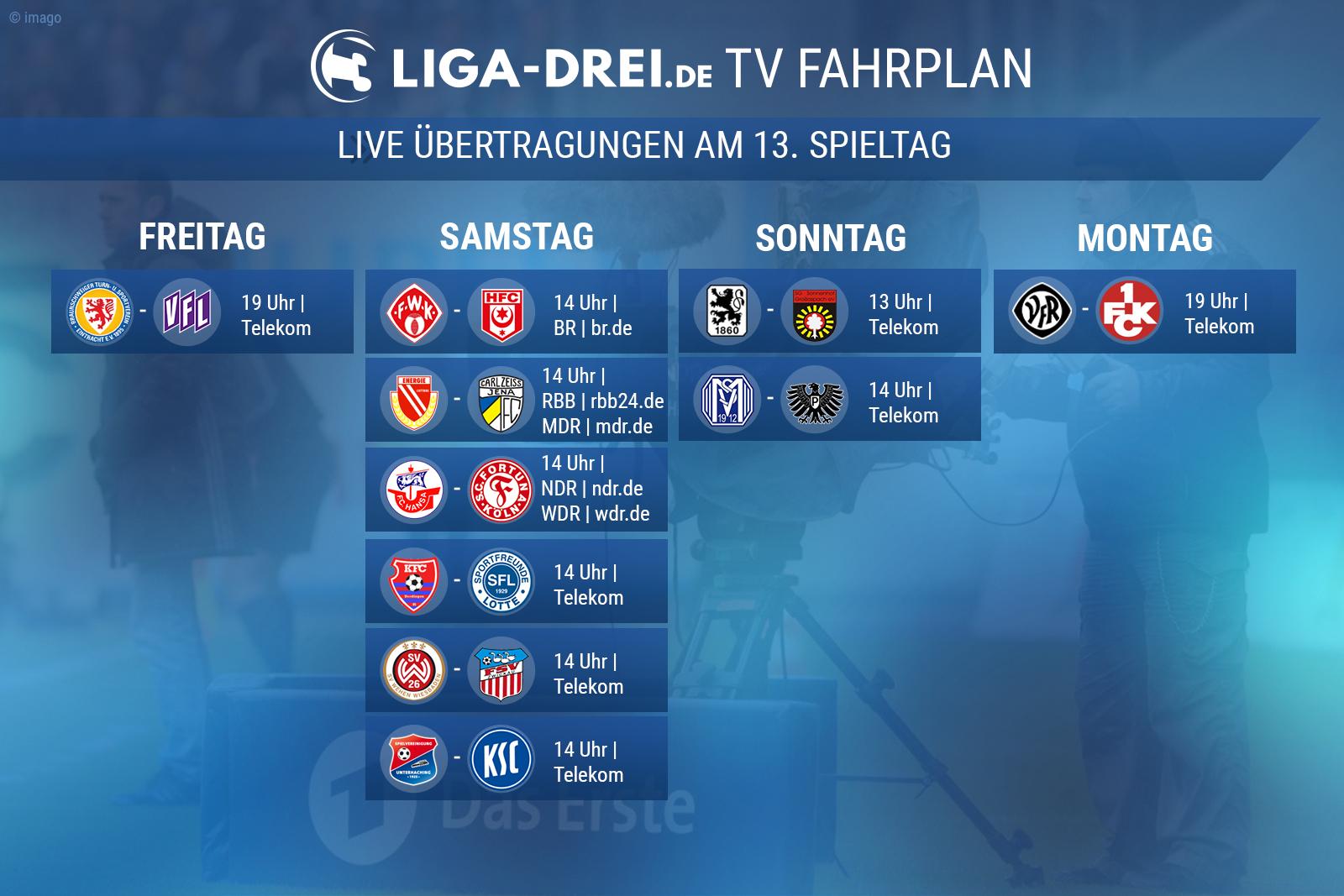 TV-Plan für die Dritte Liga am 13. Spieltag