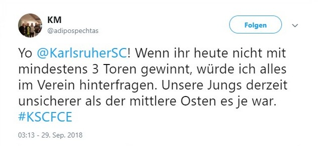 Tweet zu KSC vs Energie Cottbus